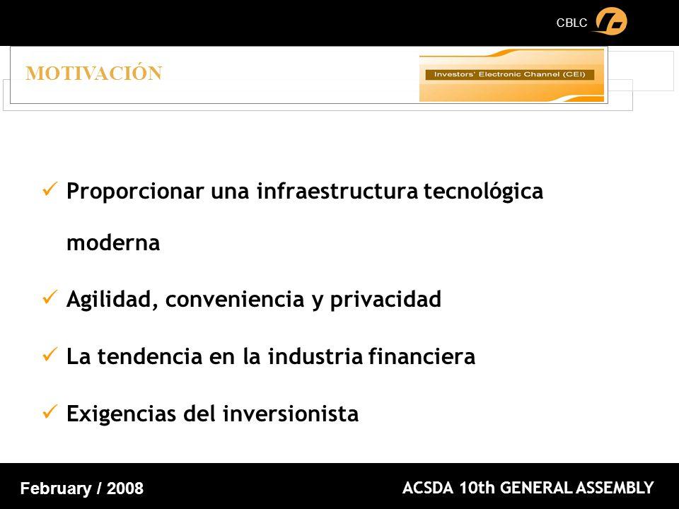 CBLC ACSDA 10th GENERAL ASSEMBLY February / 2008 Proporcionar una infraestructura tecnológica moderna Agilidad, conveniencia y privacidad La tendencia en la industria financiera Exigencias del inversionista MOTIVACIÓN