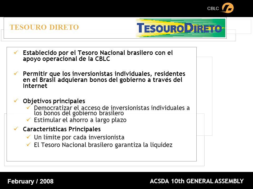CBLC ACSDA 10th GENERAL ASSEMBLY February / 2008 Establecido por el Tesoro Nacional brasilero con el apoyo operacional de la CBLC Permitir que los inversionistas individuales, residentes en el Brasil adquieran bonos del gobierno a través del Internet Objetivos principales Democratizar el acceso de inversionistas individuales a los bonos del gobierno brasilero Estimular el ahorro a largo plazo Características Principales Un límite por cada inversionista El Tesoro Nacional brasilero garantiza la liquidez TESOURO DIRETO
