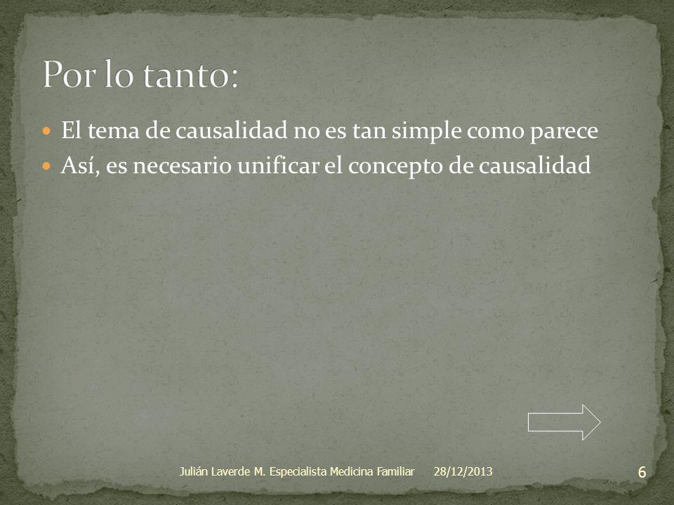 El tema de causalidad no es tan simple como parece Así, es necesario unificar el concepto de causalidad 28/12/2013 6 Julián Laverde M. Especialista Me