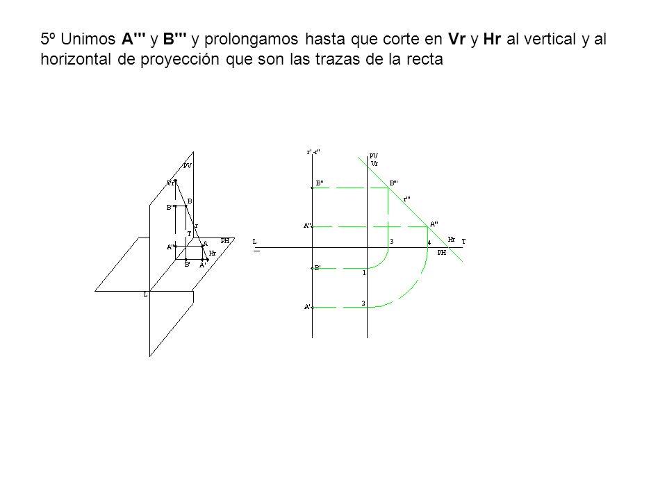 5º Unimos A''' y B''' y prolongamos hasta que corte en Vr y Hr al vertical y al horizontal de proyección que son las trazas de la recta