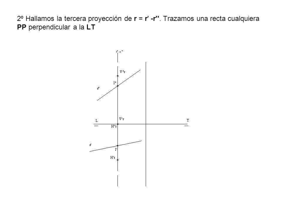 2º Hallamos la tercera proyección de r = r' -r''. Trazamos una recta cualquiera PP perpendicular a la LT