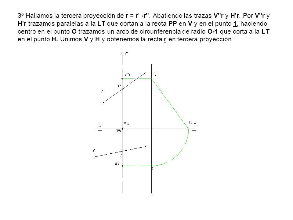 3º Hallamos la tercera proyección de r = r' -r''. Abatiendo las trazas V''r y H'r. Por V''r y H'r trazamos paralelas a la LT que cortan a la recta PP