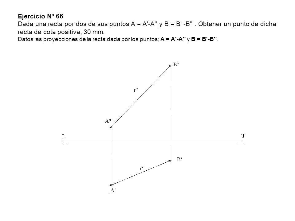 Ejercicio Nº 66 Dada una recta por dos de sus puntos A = A'-A'' y B = B' -B''. Obtener un punto de dicha recta de cota positiva, 30 mm. Datos las proy