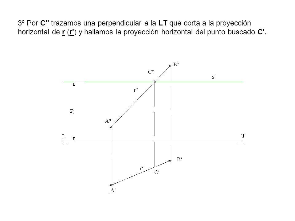 3º Por C'' trazamos una perpendicular a la LT que corta a la proyección horizontal de r (r') y hallamos la proyección horizontal del punto buscado C'.