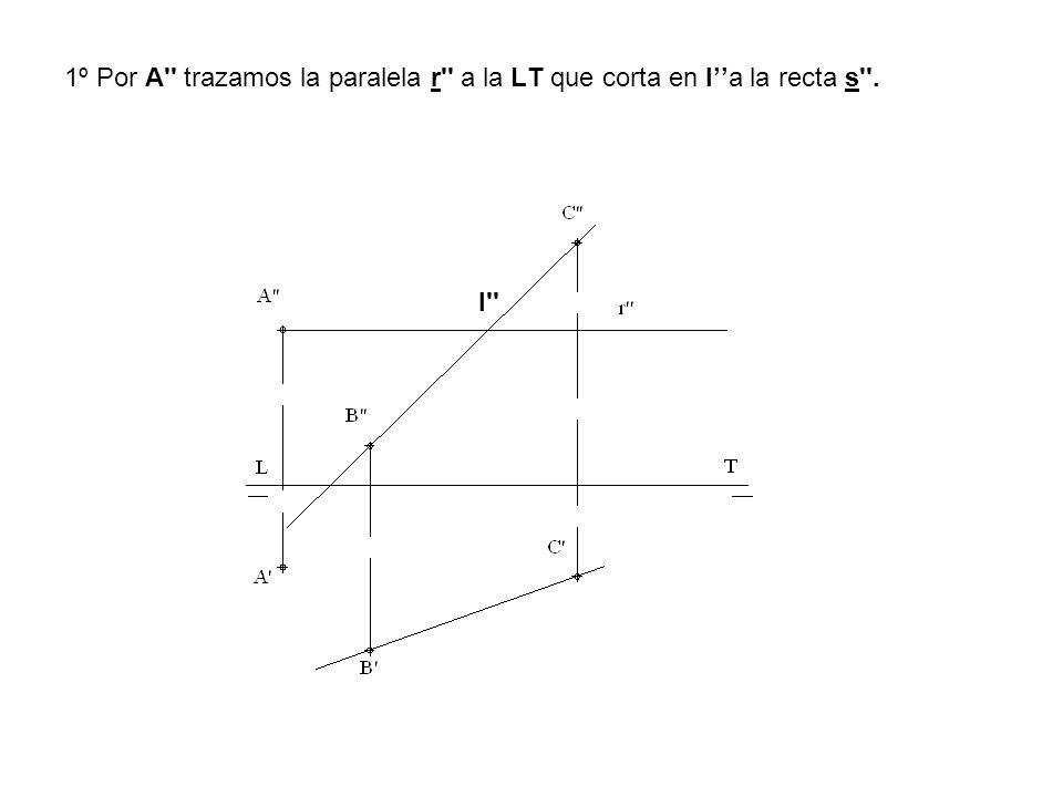1º Por A'' trazamos la paralela r'' a la LT que corta en Ia la recta s''. I''