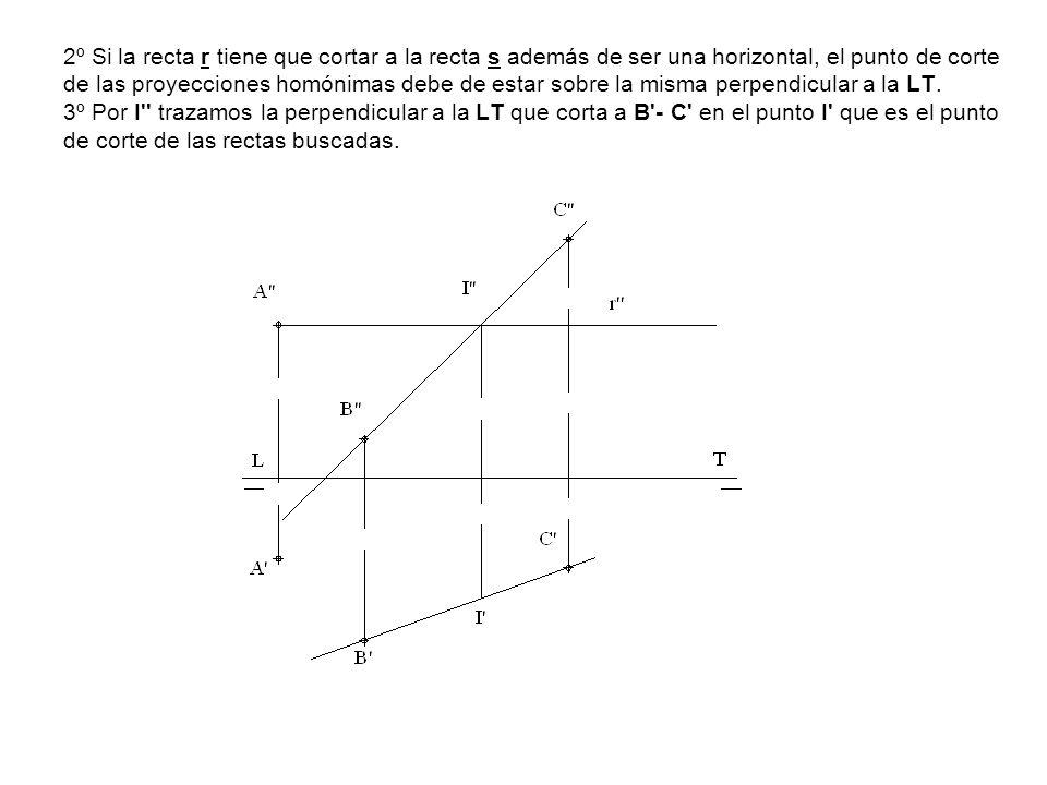 2º Si la recta r tiene que cortar a la recta s además de ser una horizontal, el punto de corte de las proyecciones homónimas debe de estar sobre la mi