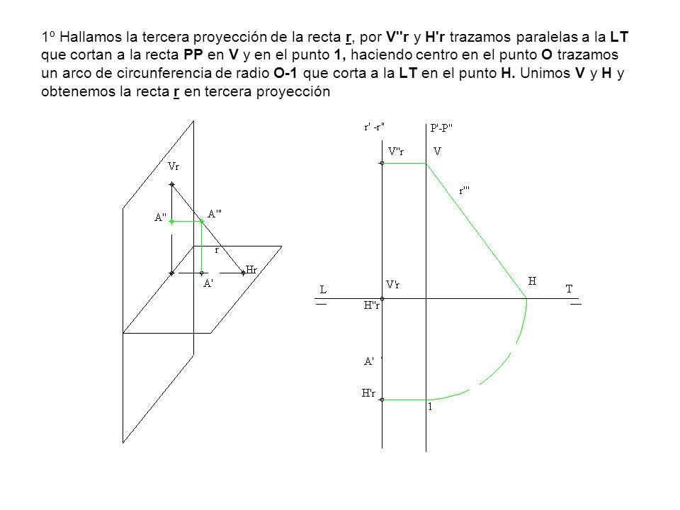 1º Hallamos la tercera proyección de la recta r, por V''r y H'r trazamos paralelas a la LT que cortan a la recta PP en V y en el punto 1, haciendo cen