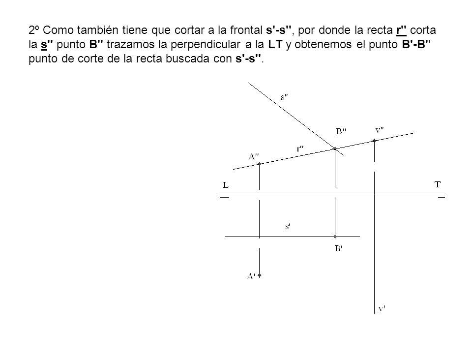 2º Como también tiene que cortar a la frontal s'-s'', por donde la recta r'' corta la s'' punto B'' trazamos la perpendicular a la LT y obtenemos el p