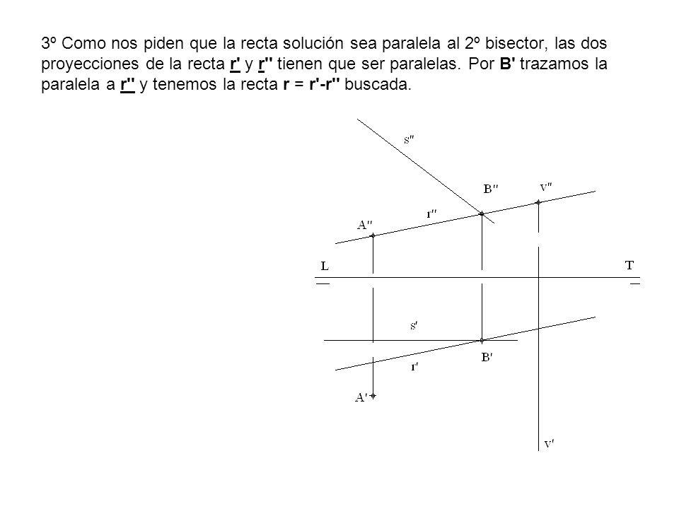 3º Como nos piden que la recta solución sea paralela al 2º bisector, las dos proyecciones de la recta r' y r'' tienen que ser paralelas. Por B' trazam
