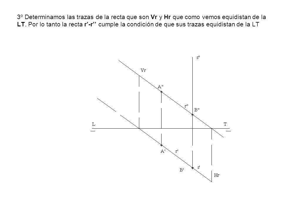 3º Determinamos las trazas de la recta que son Vr y Hr que como vemos equidistan de la LT. Por lo tanto la recta r-r cumple la condición de que sus tr