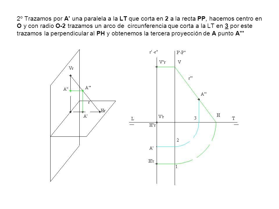 2º Trazamos por A' una paralela a la LT que corta en 2 a la recta PP, hacemos centro en O y con radio O-2 trazamos un arco de circunferencia que corta