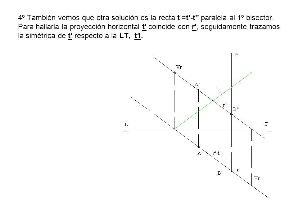4º También vemos que otra solución es la recta t =t'-t'' paralela al 1º bisector. Para hallarla la proyección horizontal t' coincide con r', seguidame