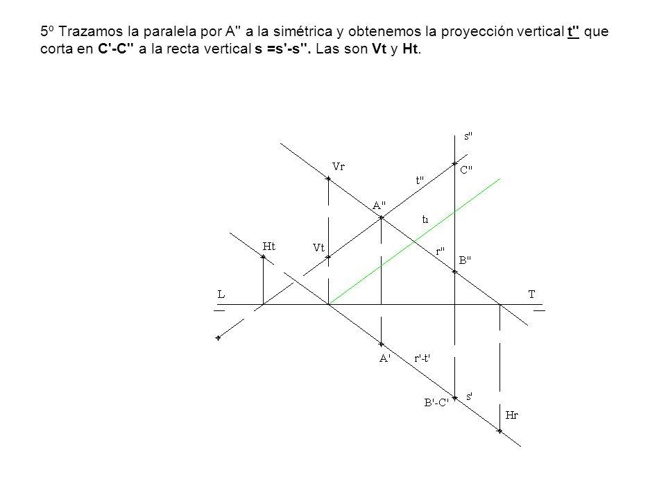 5º Trazamos la paralela por A'' a la simétrica y obtenemos la proyección vertical t'' que corta en C'-C'' a la recta vertical s =s'-s''. Las son Vt y