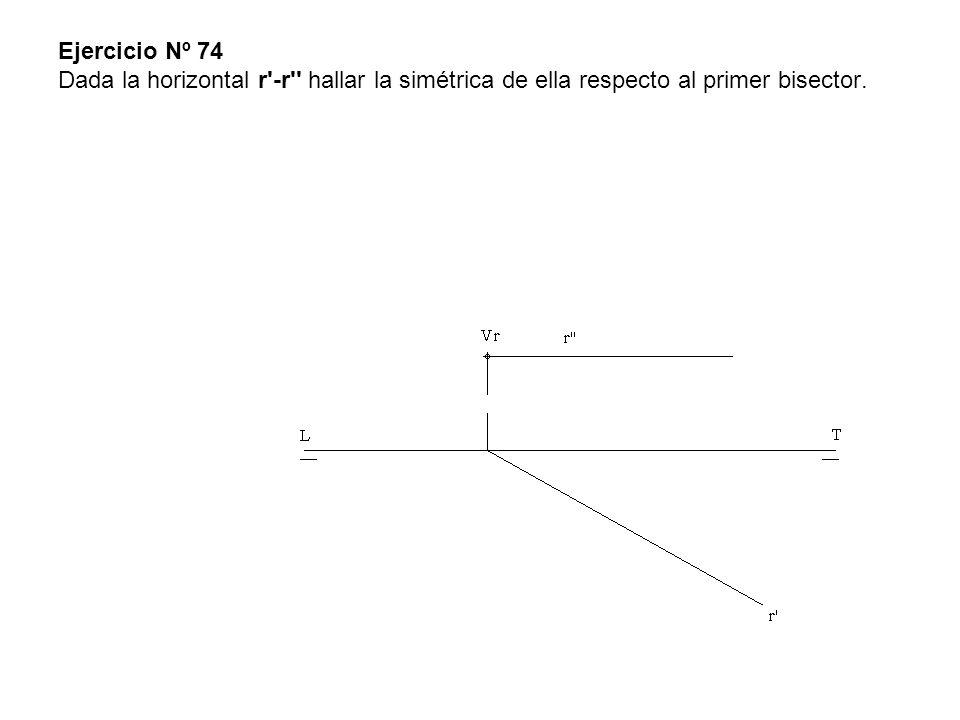 Ejercicio Nº 74 Dada la horizontal r'-r'' hallar la simétrica de ella respecto al primer bisector.