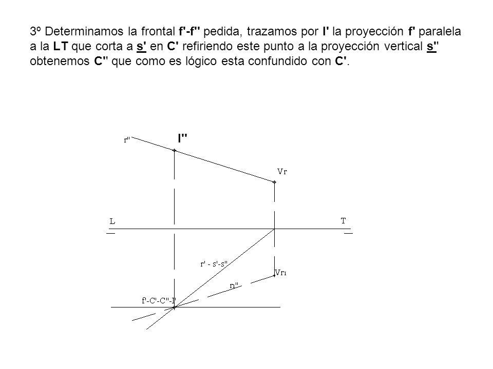 3º Determinamos la frontal f'-f'' pedida, trazamos por I' la proyección f' paralela a la LT que corta a s' en C' refiriendo este punto a la proyección