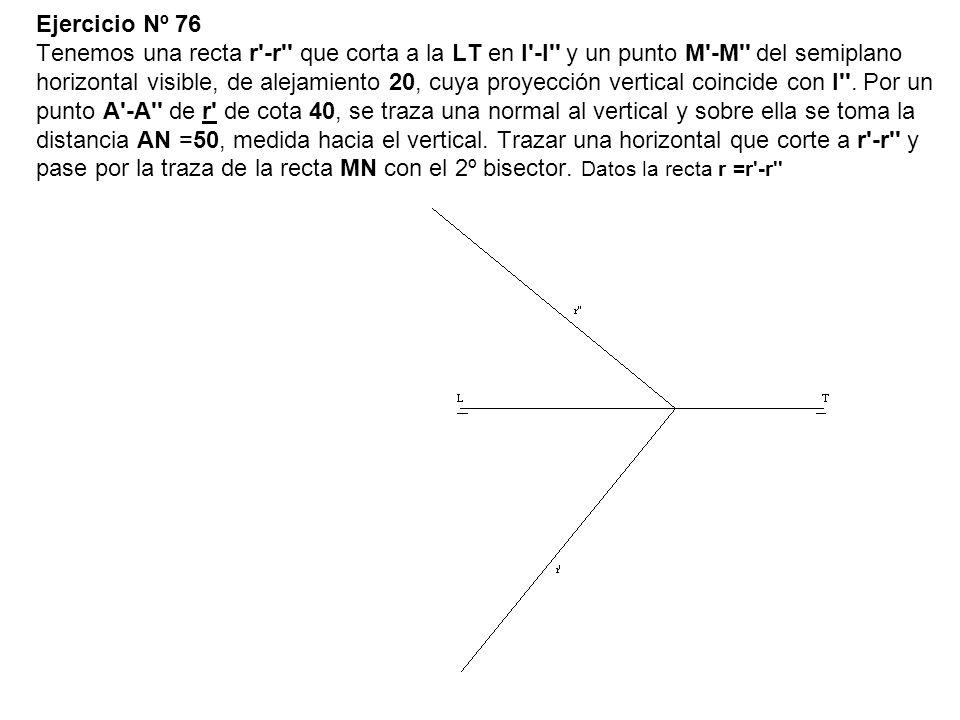 Ejercicio Nº 76 Tenemos una recta r'-r'' que corta a la LT en I'-I'' y un punto M'-M'' del semiplano horizontal visible, de alejamiento 20, cuya proye