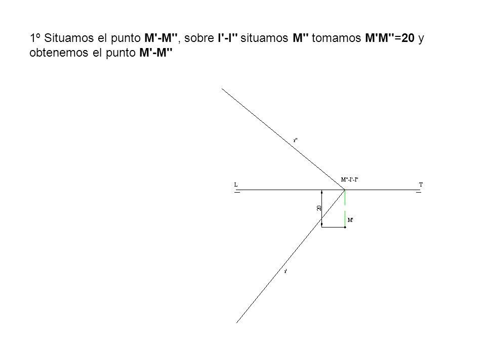 1º Situamos el punto M'-M'', sobre I'-I'' situamos M'' tomamos M'M''=20 y obtenemos el punto M'-M''