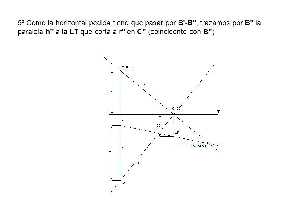 5º Como la horizontal pedida tiene que pasar por B'-B'', trazamos por B'' la paralela h'' a la LT que corta a r'' en C'' (coincidente con B'')