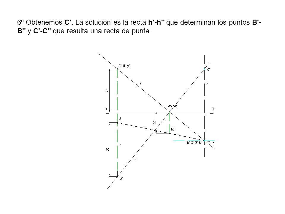 6º Obtenemos C'. La solución es la recta h'-h'' que determinan los puntos B'- B'' y C'-C'' que resulta una recta de punta.