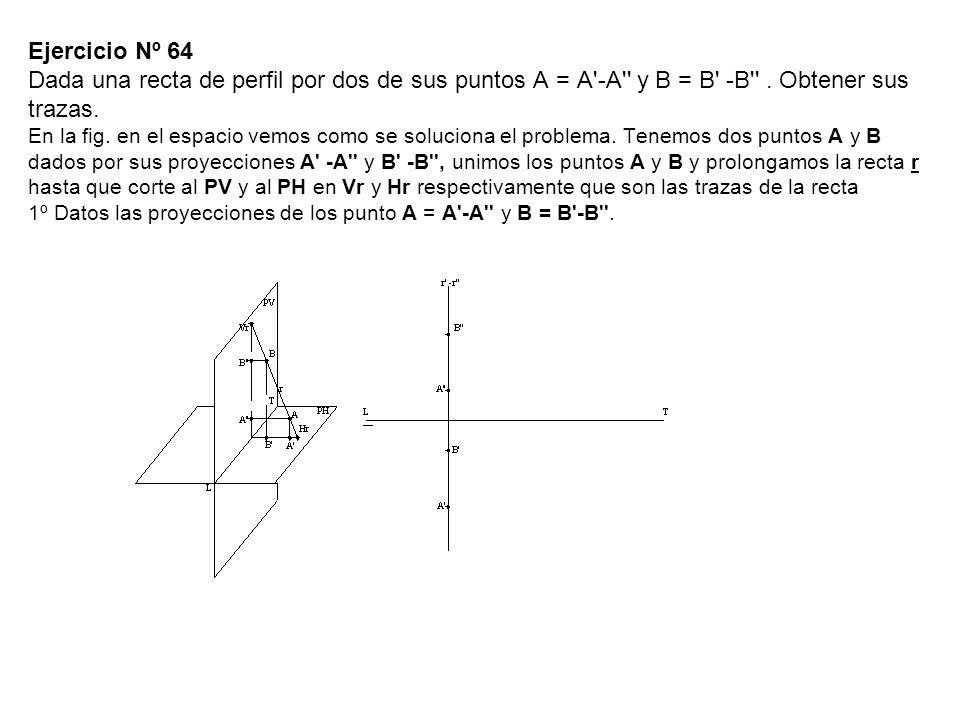 Ejercicio Nº 64 Dada una recta de perfil por dos de sus puntos A = A'-A'' y B = B' -B''. Obtener sus trazas. En la fig. en el espacio vemos como se so