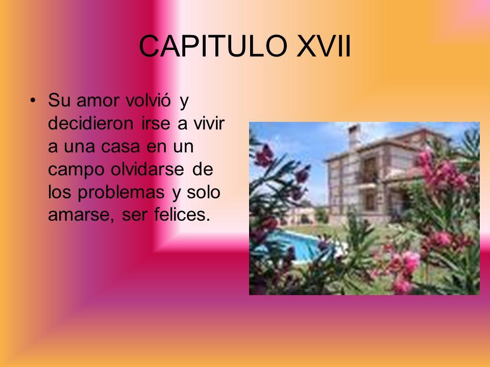 CAPITULO XVII Su amor volvió y decidieron irse a vivir a una casa en un campo olvidarse de los problemas y solo amarse, ser felices.