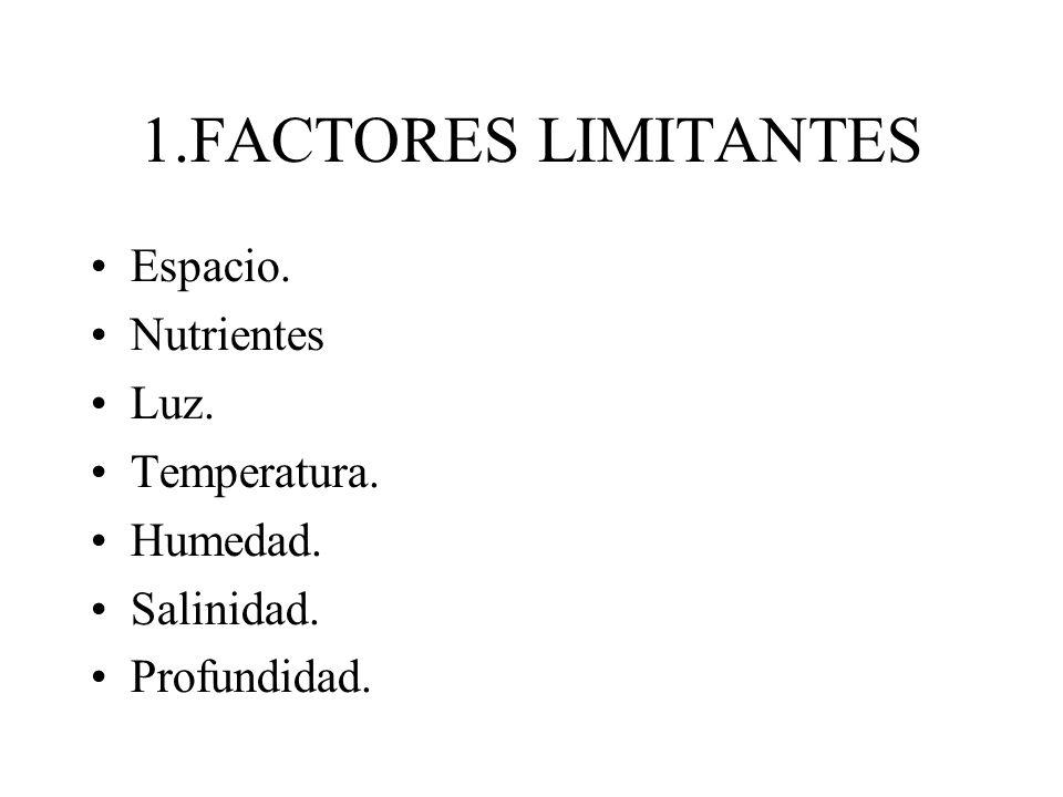 1.FACTORES LIMITANTES Espacio. Nutrientes Luz. Temperatura. Humedad. Salinidad. Profundidad.