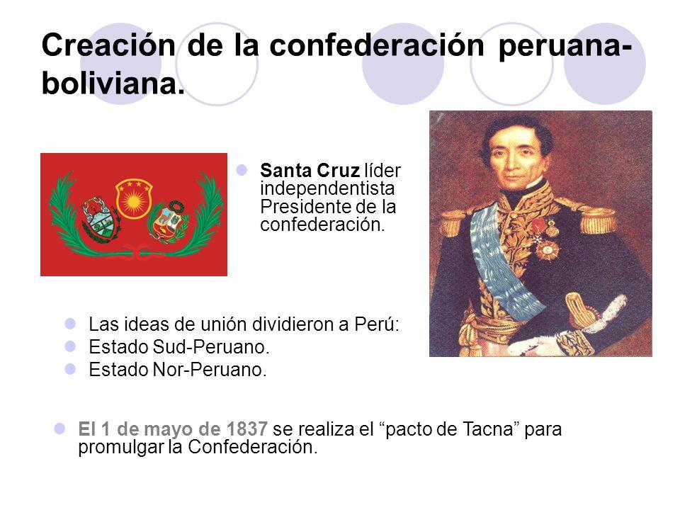 Creación de la confederación peruana- boliviana. Las ideas de unión dividieron a Perú: Estado Sud-Peruano. Estado Nor-Peruano. Santa Cruz líder indepe
