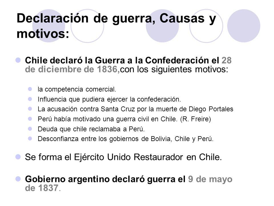Declaración de guerra, Causas y motivos: Chile declaró la Guerra a la Confederación el 28 de diciembre de 1836,con los siguientes motivos: Se forma el