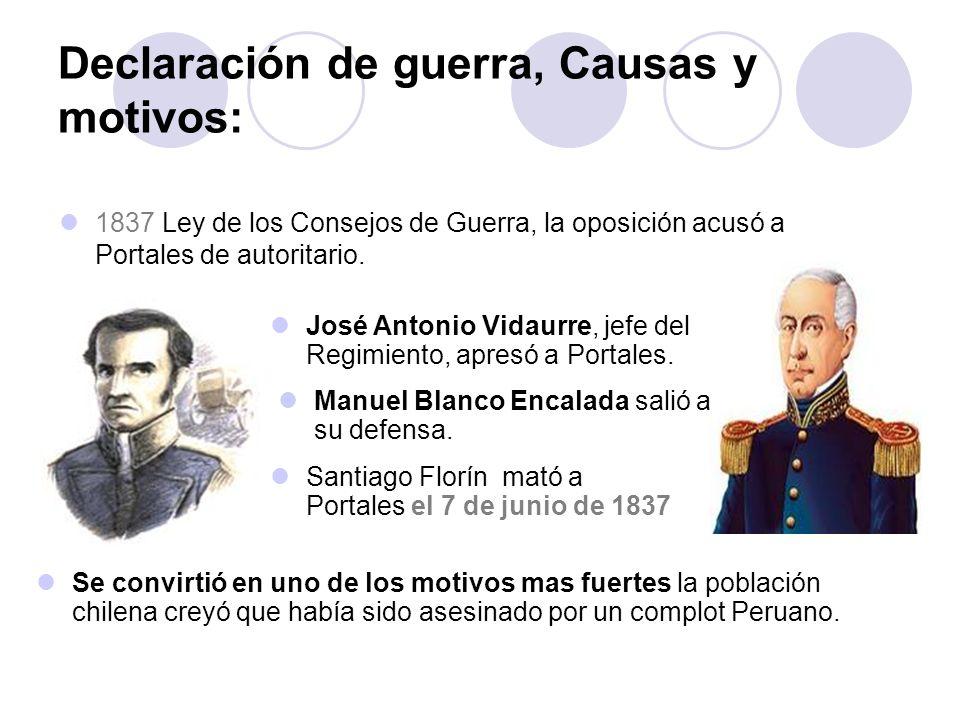 Declaración de guerra, Causas y motivos: 1837 Ley de los Consejos de Guerra, la oposición acusó a Portales de autoritario. José Antonio Vidaurre, jefe