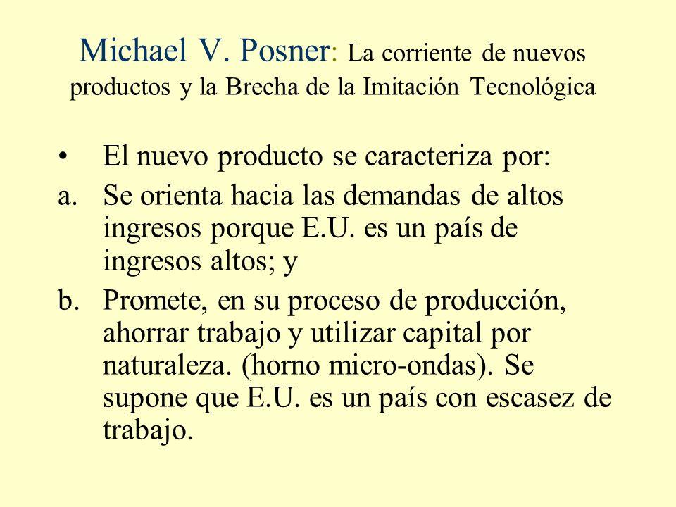 Michael V. Posner : La corriente de nuevos productos y la Brecha de la Imitación Tecnológica El nuevo producto se caracteriza por: a.Se orienta hacia