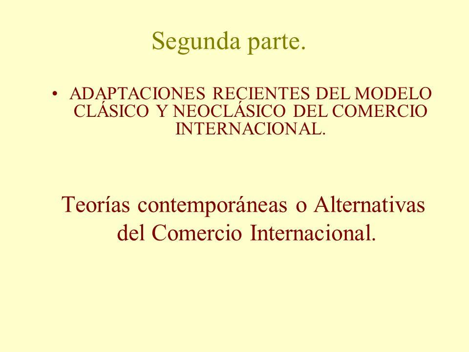 Segunda parte. Teorías contemporáneas o Alternativas del Comercio Internacional. ADAPTACIONES RECIENTES DEL MODELO CLÁSICO Y NEOCLÁSICO DEL COMERCIO I