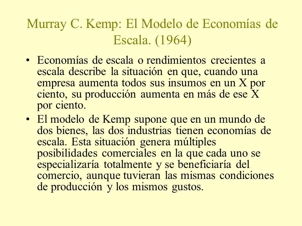 Murray C. Kemp: El Modelo de Economías de Escala. (1964) Economías de escala o rendimientos crecientes a escala describe la situación en que, cuando u