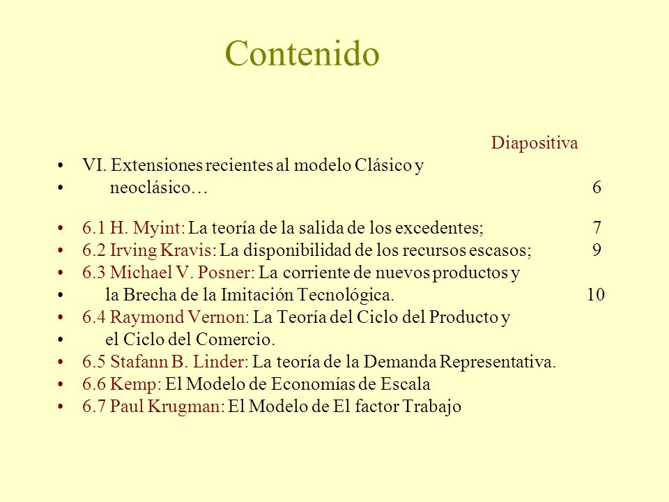 Contenido Diapositiva VI. Extensiones recientes al modelo Clásico y neoclásico…6 6.1 H. Myint: La teoría de la salida de los excedentes; 7 6.2 Irving