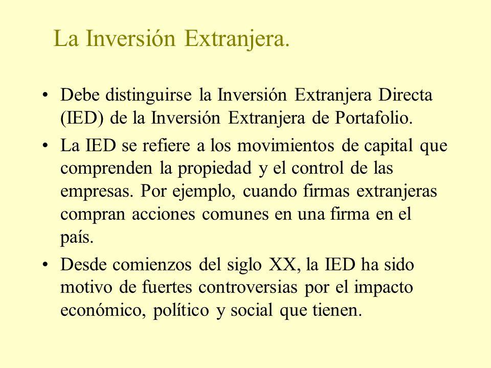 La Inversión Extranjera. Debe distinguirse la Inversión Extranjera Directa (IED) de la Inversión Extranjera de Portafolio. La IED se refiere a los mov