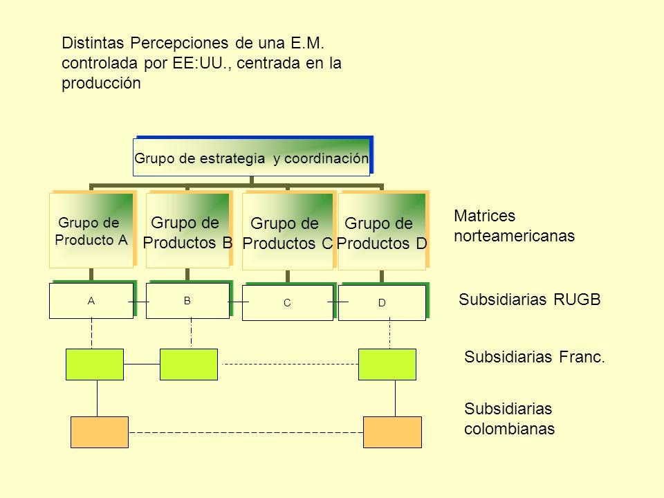 Grupo de estrategia y coordinación Grupo de Producto A A Grupo de Productos B B Grupo de Productos C C Grupo de Productos D D Distintas Percepciones d