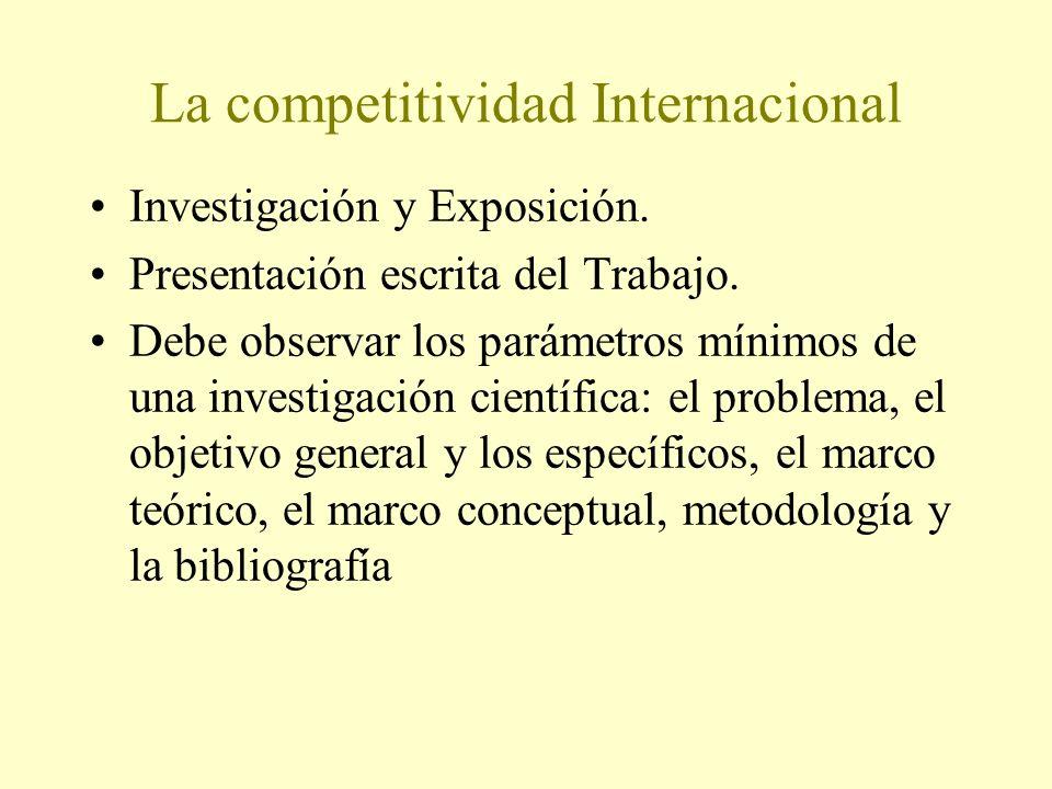 La competitividad Internacional Investigación y Exposición. Presentación escrita del Trabajo. Debe observar los parámetros mínimos de una investigació