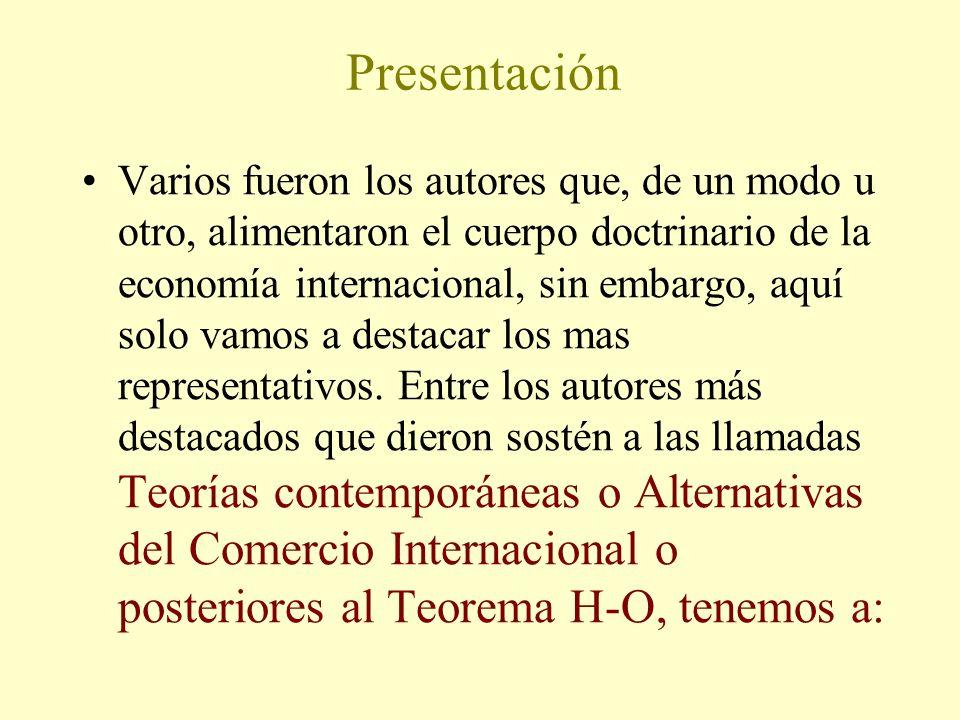Presentación Varios fueron los autores que, de un modo u otro, alimentaron el cuerpo doctrinario de la economía internacional, sin embargo, aquí solo