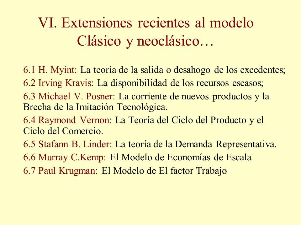VI. Extensiones recientes al modelo Clásico y neoclásico… 6.1 H. Myint: La teoría de la salida o desahogo de los excedentes; 6.2 Irving Kravis: La dis