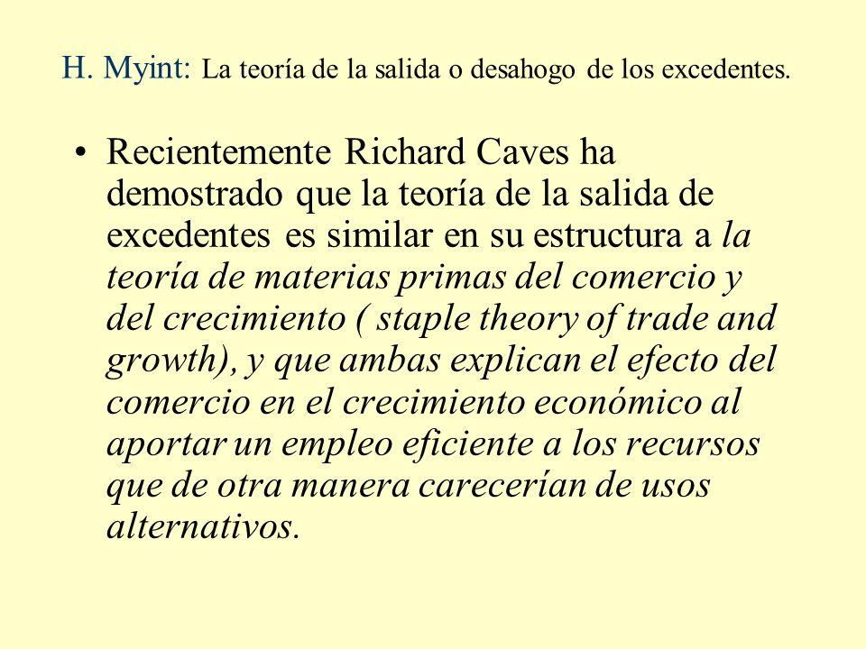 H. Myint: La teoría de la salida o desahogo de los excedentes. Recientemente Richard Caves ha demostrado que la teoría de la salida de excedentes es s