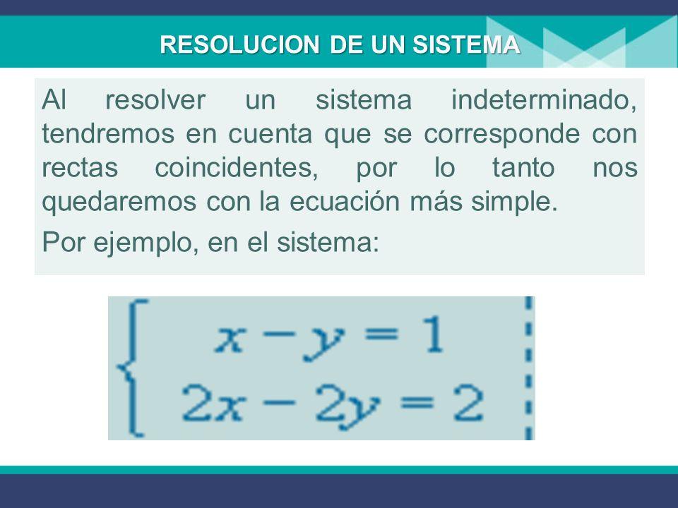 Las rectas paralelas no tienen ningún punto en común, por eso los sistemas incompatibles no tienen solución. Las rectas secantes se cortan en un único