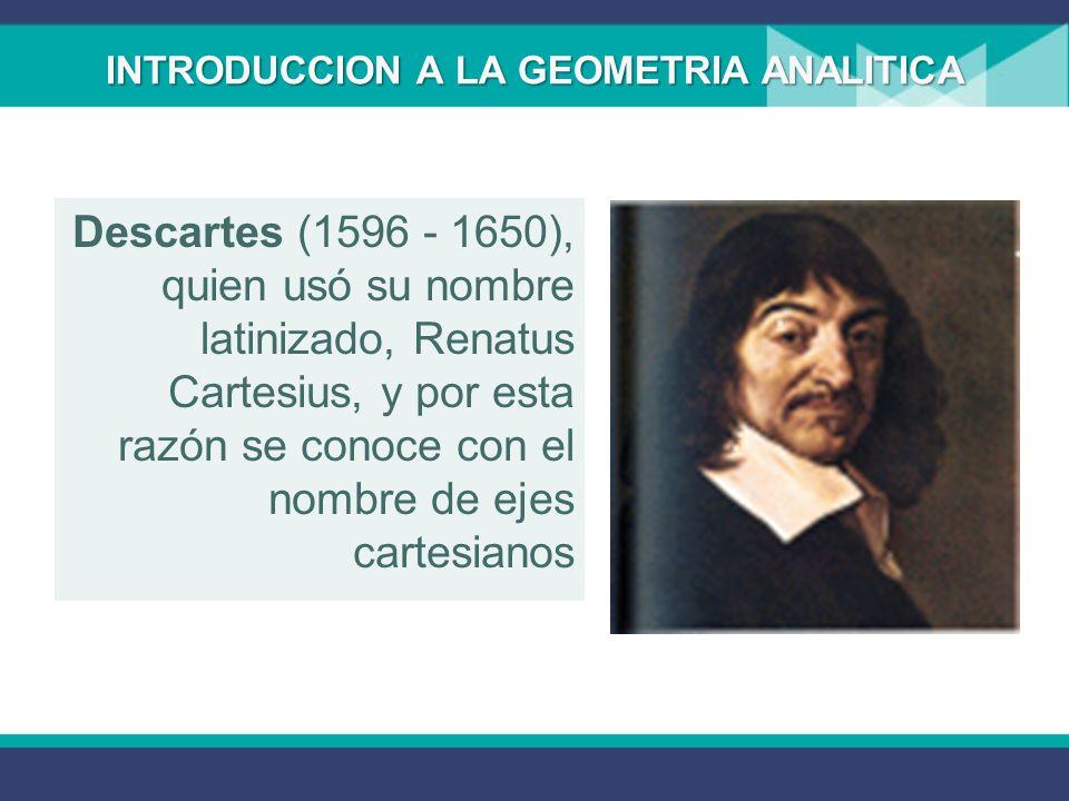 INTRODUCCION A LA GEOMETRIA ANALITICA Geometría Analítica tiene por objeto la resolución de problemas geométricos utilizando métodos algebraicos. El s
