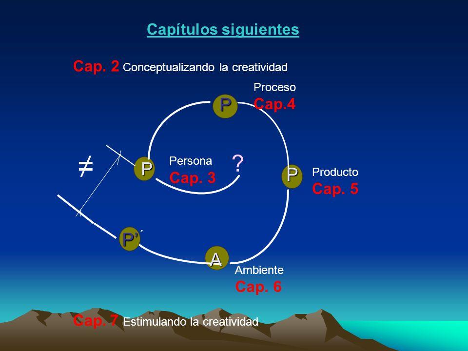 ? P P ´ P P P A Persona Cap. 3 Proceso Cap.4 Producto Cap. 5 Ambiente Cap. 6 Cap. 2 Conceptualizando la creatividad Cap. 7 Estimulando la creatividad