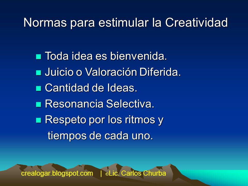 Normas para estimular la Creatividad n Toda idea es bienvenida. n Juicio o Valoración Diferida. n Cantidad de Ideas. n Resonancia Selectiva. n Respeto
