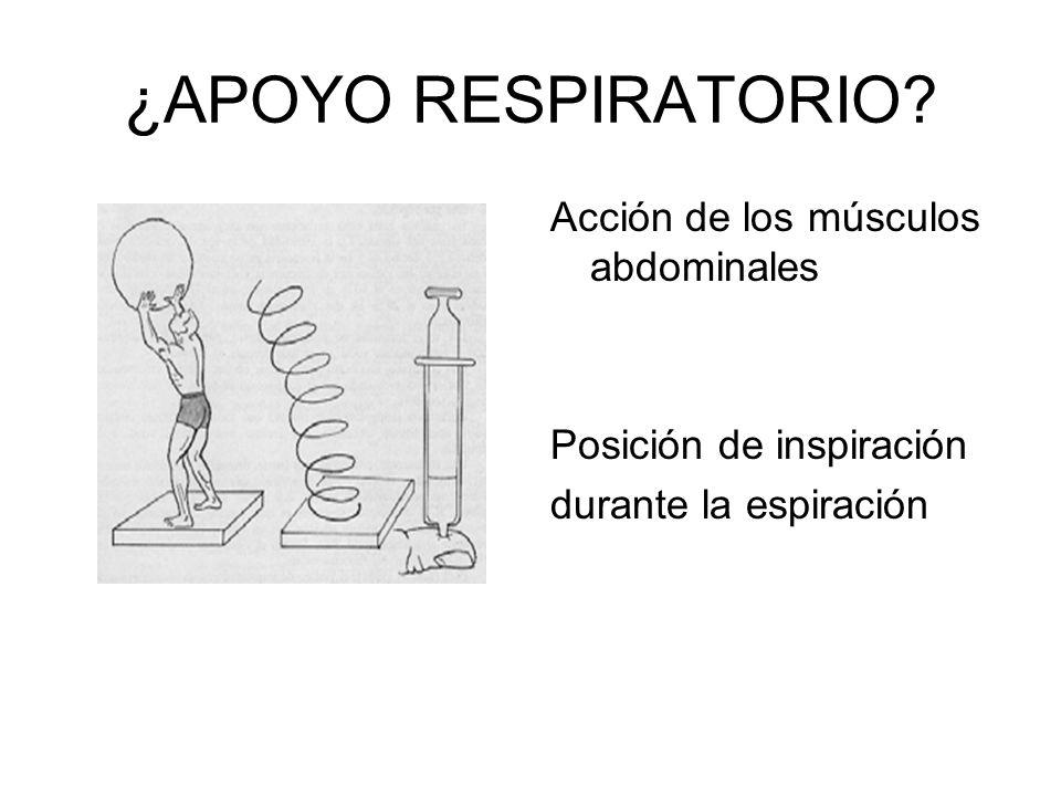 ¿APOYO RESPIRATORIO? Acción de los músculos abdominales Posición de inspiración durante la espiración