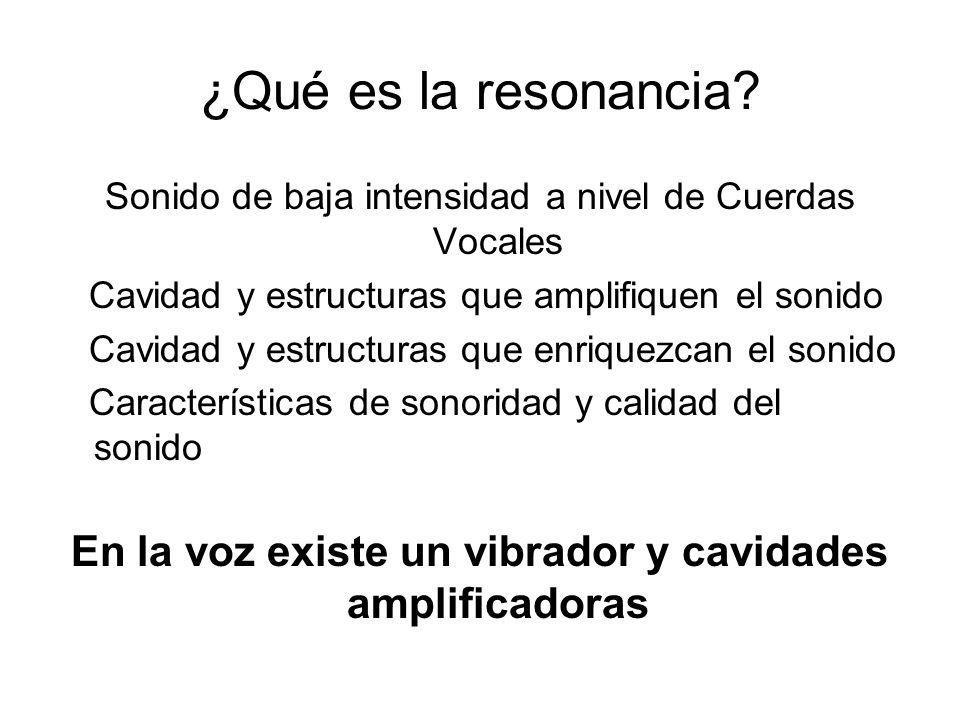 ¿Qué es la resonancia? Sonido de baja intensidad a nivel de Cuerdas Vocales Cavidad y estructuras que amplifiquen el sonido Cavidad y estructuras que