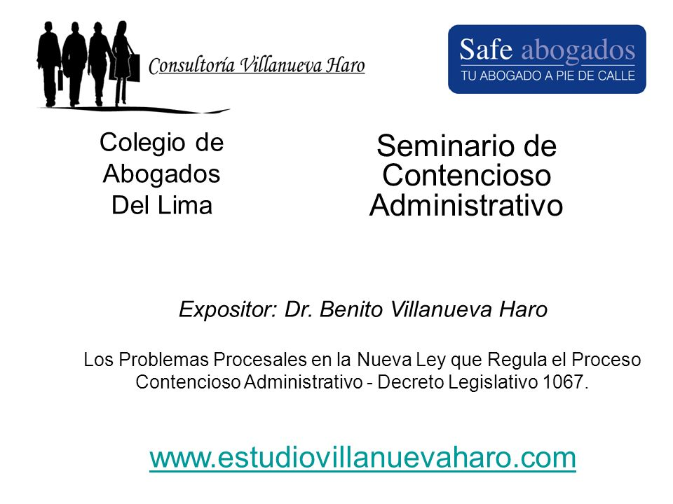 Colegio de Abogados Del Lima Seminario de Contencioso Administrativo Expositor: Dr. Benito Villanueva Haro Los Problemas Procesales en la Nueva Ley qu