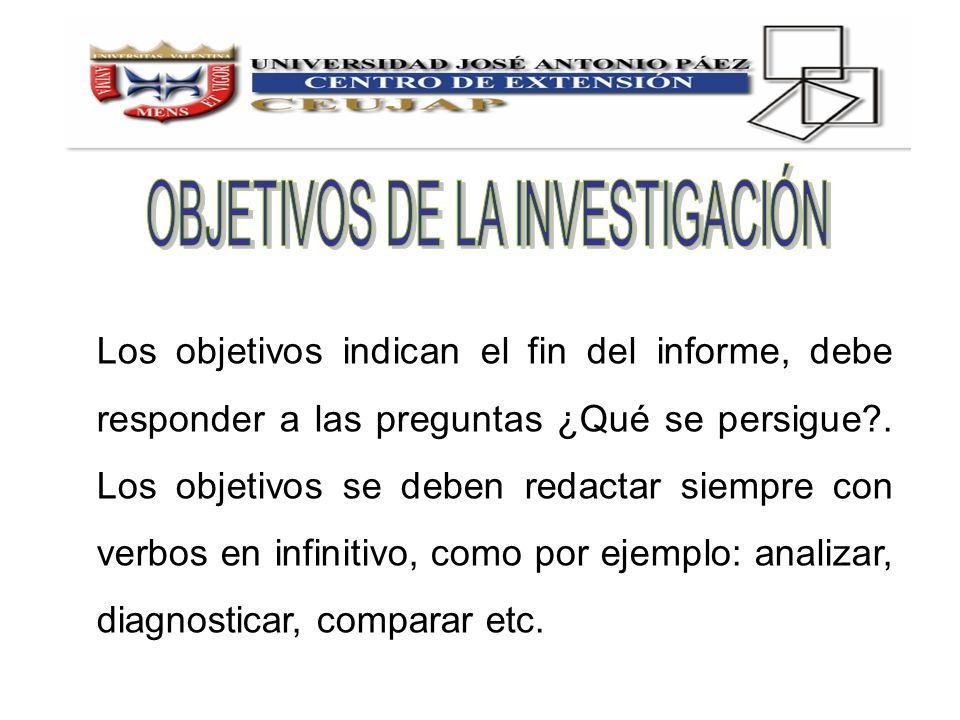 Los objetivos indican el fin del informe, debe responder a las preguntas ¿Qué se persigue?. Los objetivos se deben redactar siempre con verbos en infi