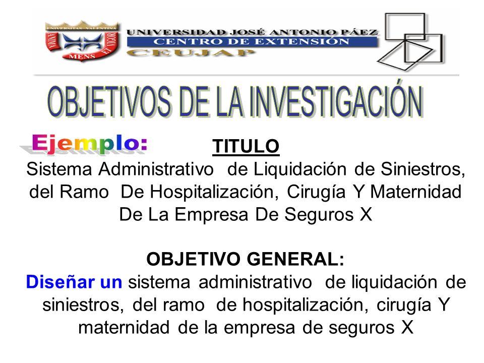TITULO Sistema Administrativo de Liquidación de Siniestros, del Ramo De Hospitalización, Cirugía Y Maternidad De La Empresa De Seguros X OBJETIVO GENE