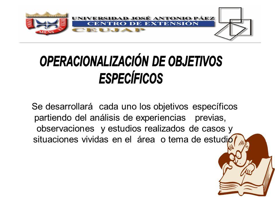Se desarrollará cada uno los objetivos específicos partiendo del análisis de experiencias previas, observaciones y estudios realizados de casos y situ