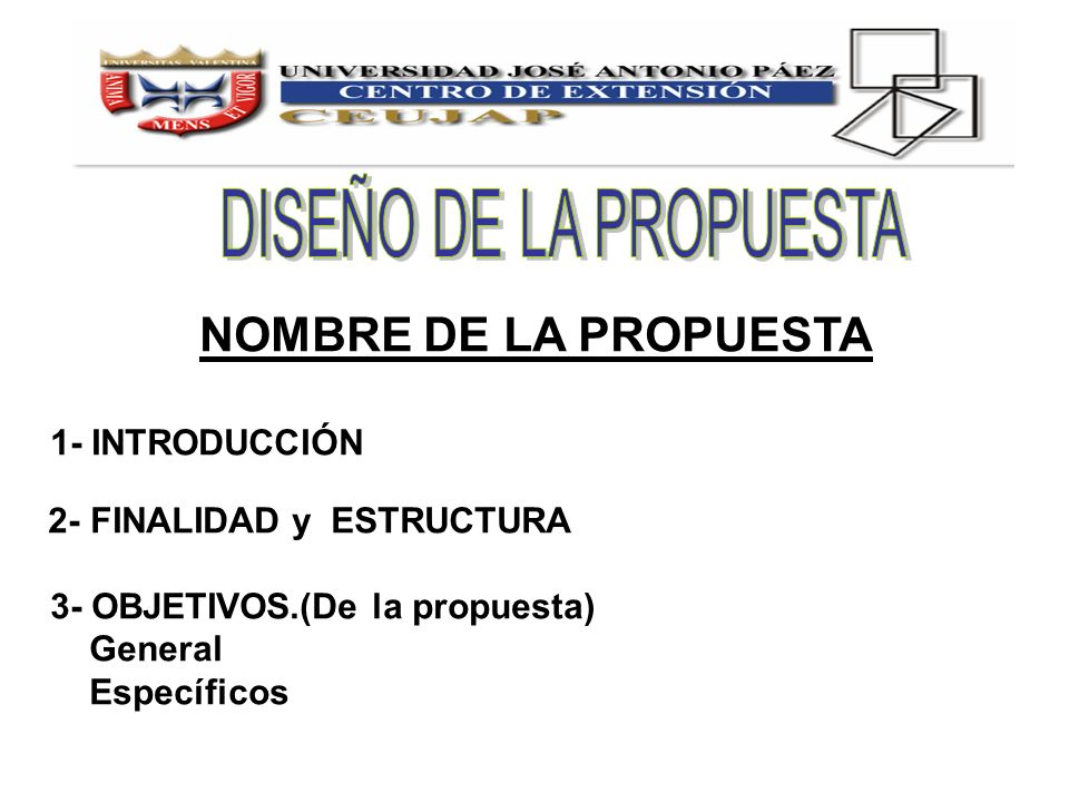 NOMBRE DE LA PROPUESTA 1- INTRODUCCIÓN 2- FINALIDAD y ESTRUCTURA 3- OBJETIVOS.(De la propuesta) General Específicos